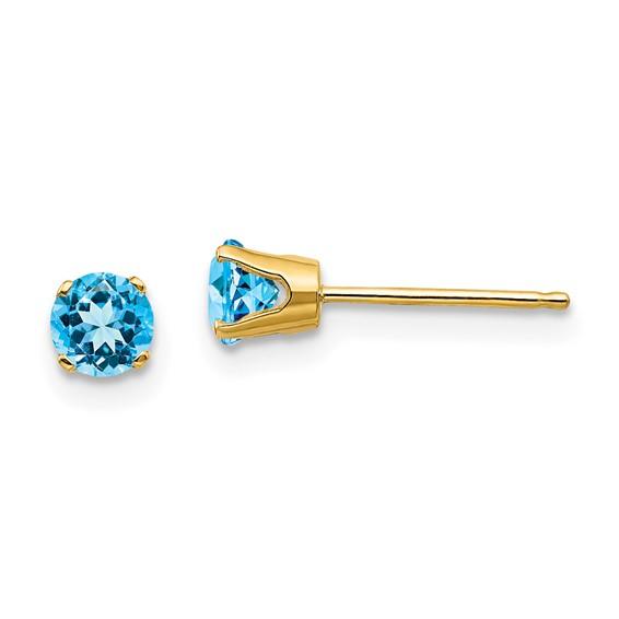 14kt Gold 4mm Blue Topaz Stud Earrings