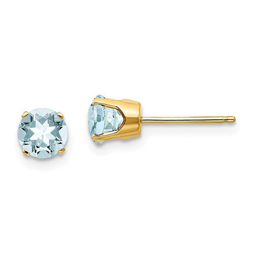 14kt Yellow Gold 1 ct tw Aquamarine Stud Earrings