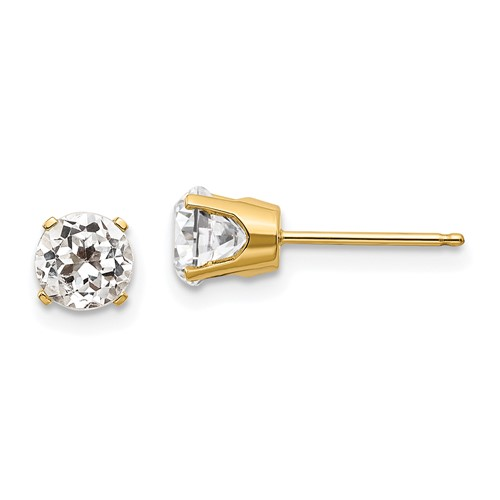 14kt Yellow Gold 5mm White Topaz Stud Earrings