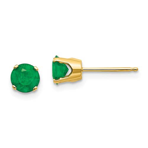 14kt Yellow Gold 5mm Emerald Stud Earrings