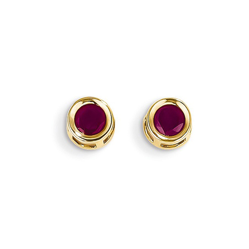14k Yellow Gold 4mm Ruby Bezel Earrings
