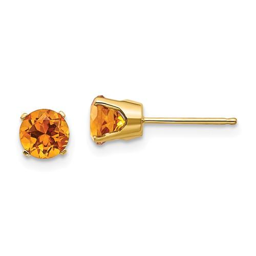 14kt Gold 5mm Citrine Stud Earrings