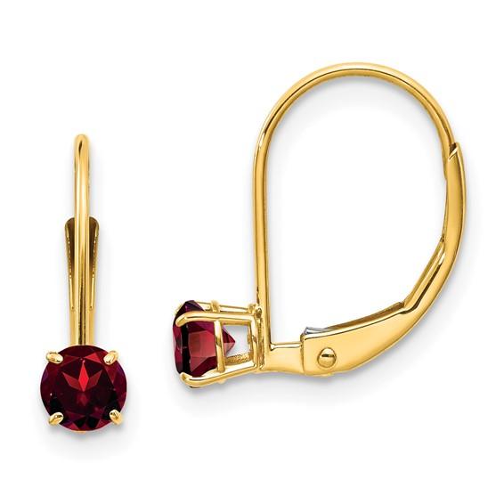 14kt Yellow Gold 2/3 ct Garnet Leverback Earrings