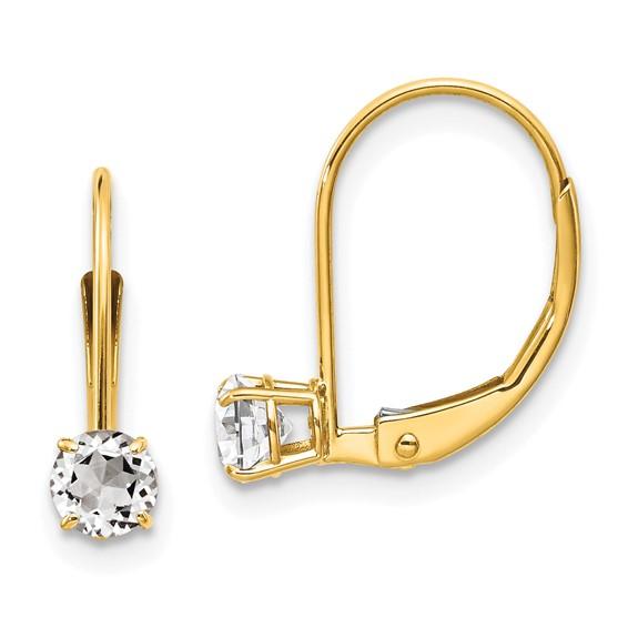 14kt Gold 4mm White Zircon Leverback Earrings