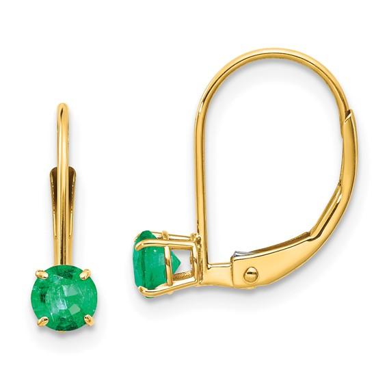 14kt Gold 4mm Emerald Leverback Earrings