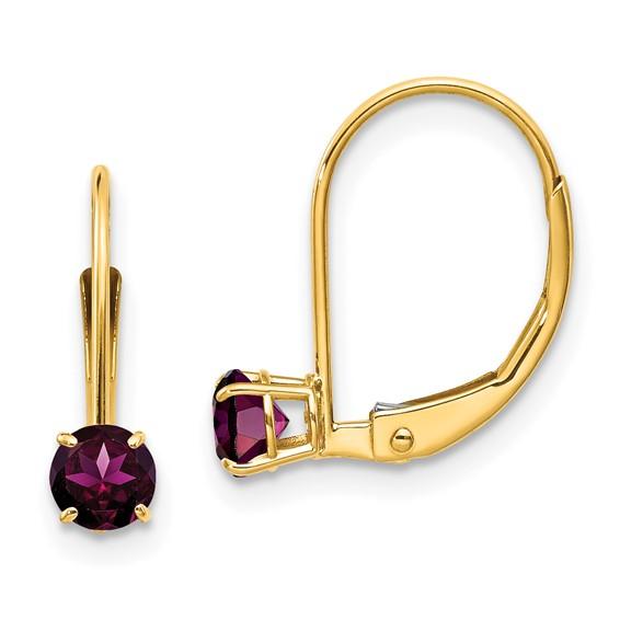 14kt Gold 4mm Rhodolite Garnet Leverback Earrings