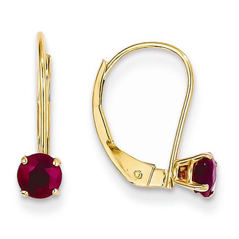 14kt Yellow Gold 7/10 ct Ruby Leverback Earrings