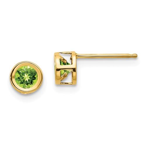 14kt Gold 4mm Peridot Bezel Earrings