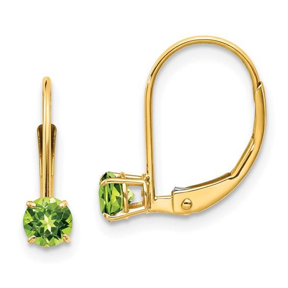 14kt Gold 4mm Peridot Leverback Earrings