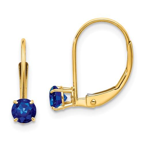14kt Gold 4mm Sapphire Leverback Earrings