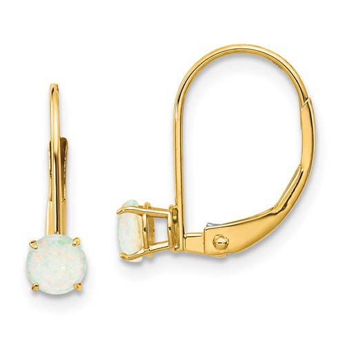14kt Gold 4mm Opal Leverback Earrings