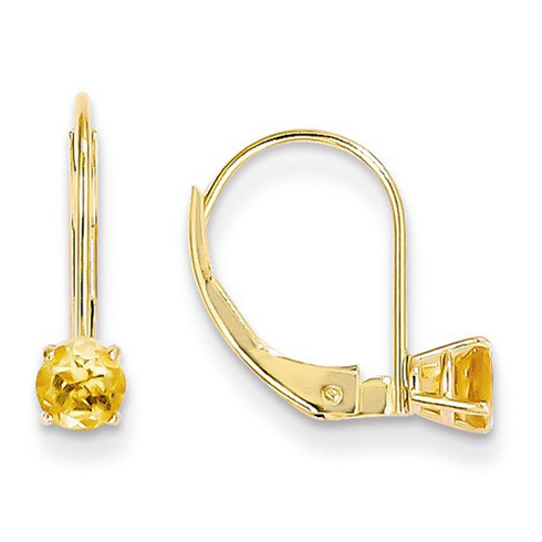 14kt Gold 4mm Citrine Leverback Earrings