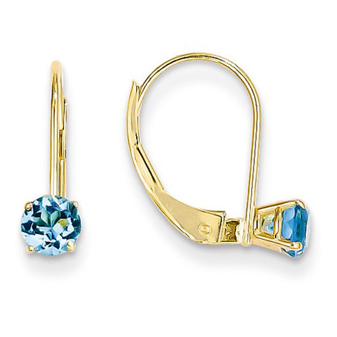 14kt Gold 4mm Blue Topaz Leverback Earrings