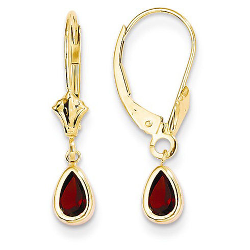14kt Yellow Gold 1 ct Pear Garnet Leverback Earrings