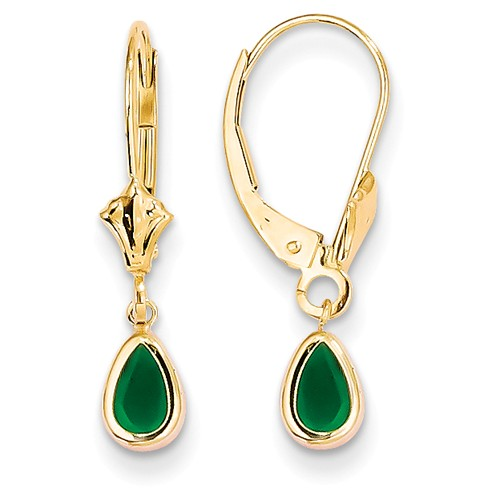 1 ct tw Pear Emerald Leverback Earrings 14k Yellow Gold