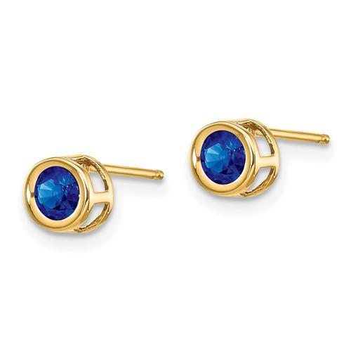 14kt Gold 4mm Sapphire Bezel Earrings