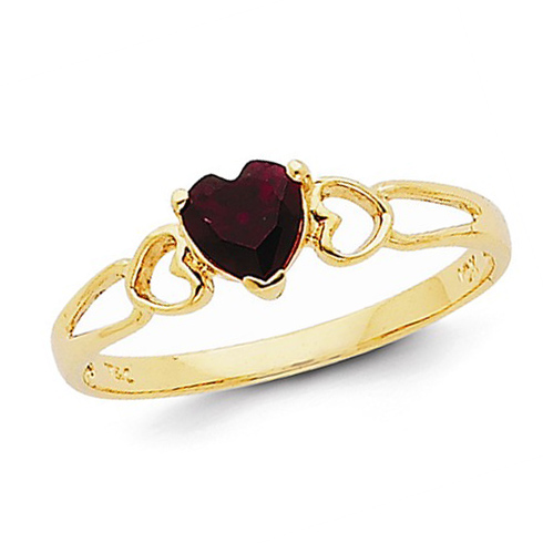 14kt Yellow Gold 1/2 ct Heart Garnet Ring