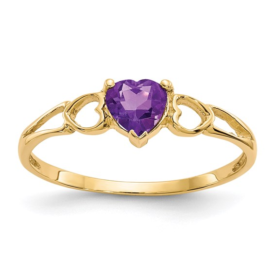 14kt Yellow Gold 2/5 ct Heart Amethyst Ring