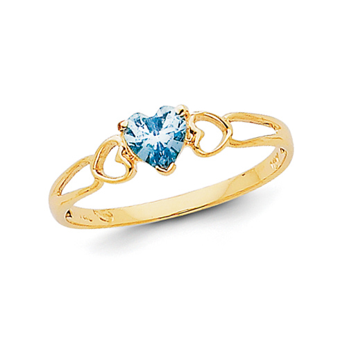 14kt Yellow Gold 2/5 Ct Heart Aquamarine Ring