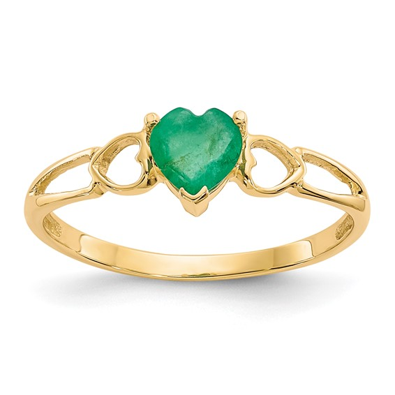 14kt Yellow Gold 2/5 ct Heart Emerald Ring