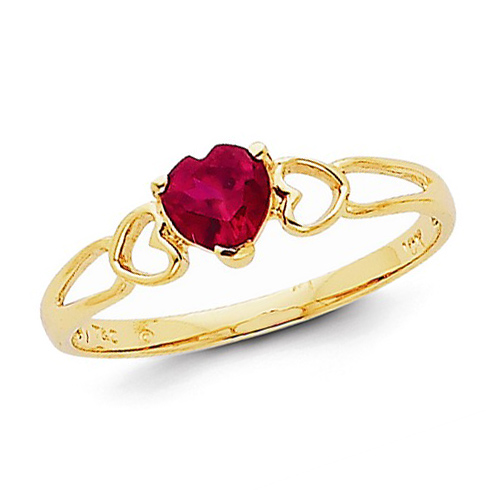 14kt Yellow Gold 1/2 ct Heart Ruby Ring