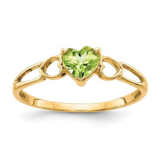 14kt Yellow Gold 1/2 Ct Heart Peridot Ring