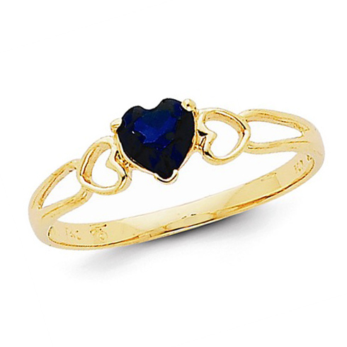 14kt Yellow Gold 1/2 ct Heart Sapphire Ring