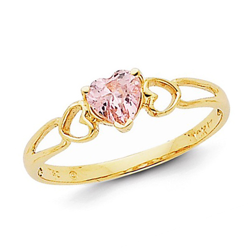 14kt Yellow Gold 1/2 ct Heart Pink Tourmaline Ring