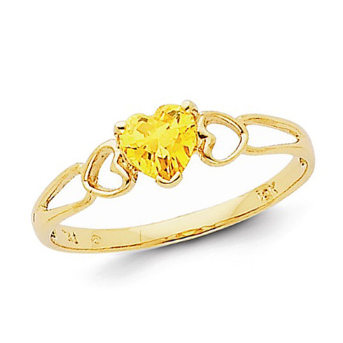 14kt Yellow Gold 2/5 ct Heart Citrine Ring