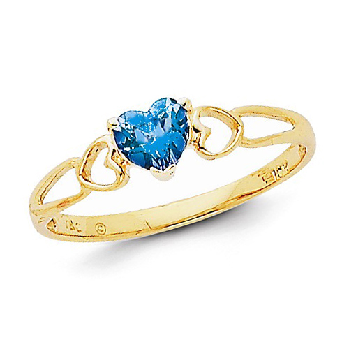 14kt Yellow Gold 1/2 ct Heart Blue Topaz Ring