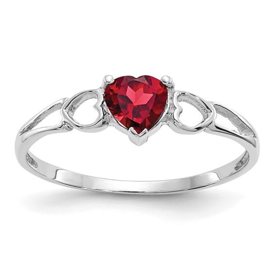 14kt White Gold 1/2 ct Heart Garnet Ring