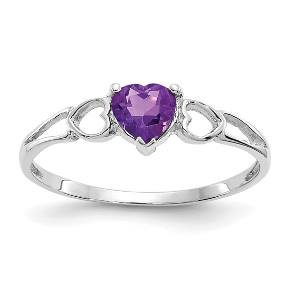 14kt White Gold 2/5 ct Heart Amethyst Ring