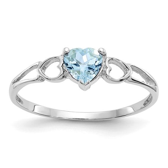 14kt White Gold 2/5 Ct Heart Aquamarine Ring