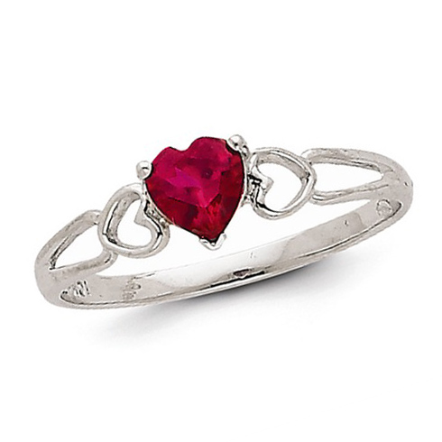14kt White Gold 1/2 ct Heart Ruby Ring