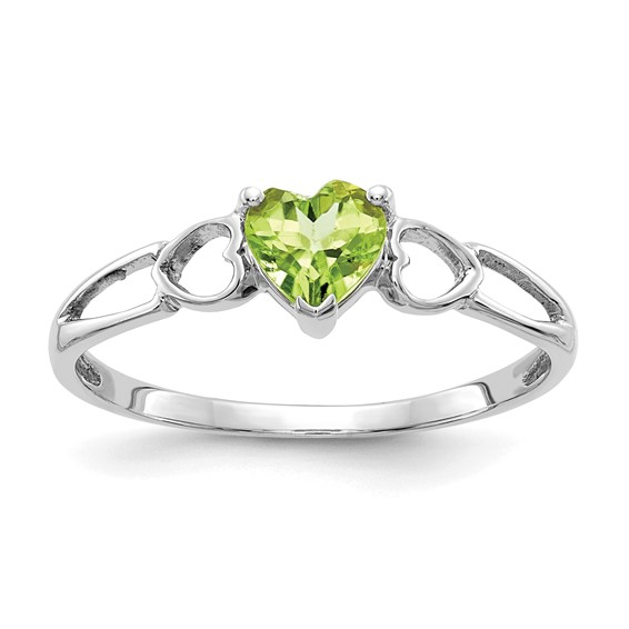 14kt White Gold 1/2 Ct Heart Peridot Ring
