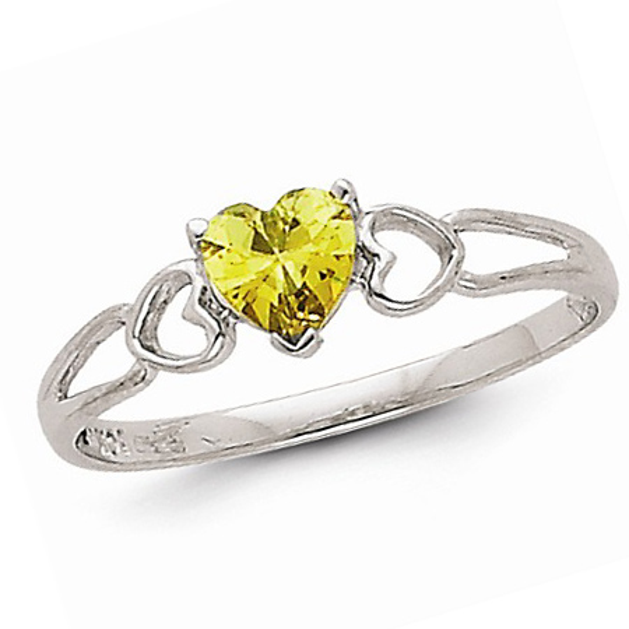 14kt White Gold 1/2 Ct Heart Peridot Ring
