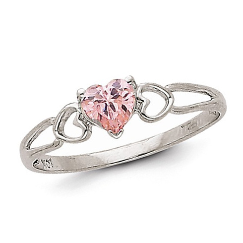 14kt White Gold 1/2 ct Heart Pink Tourmaline Ring