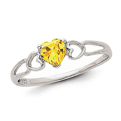 14kt White Gold 2/5 ct Heart Citrine Ring