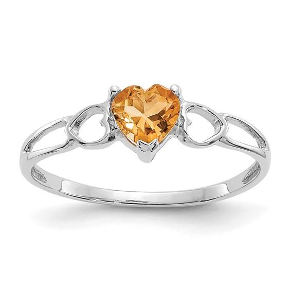 14kt White Gold 2/5 ct Heart Citrine Ring