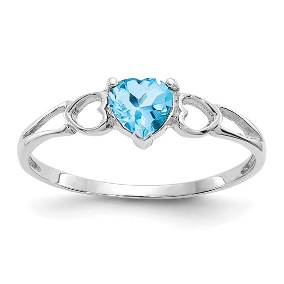 14kt White Gold 1/2 ct Heart Blue Topaz Ring