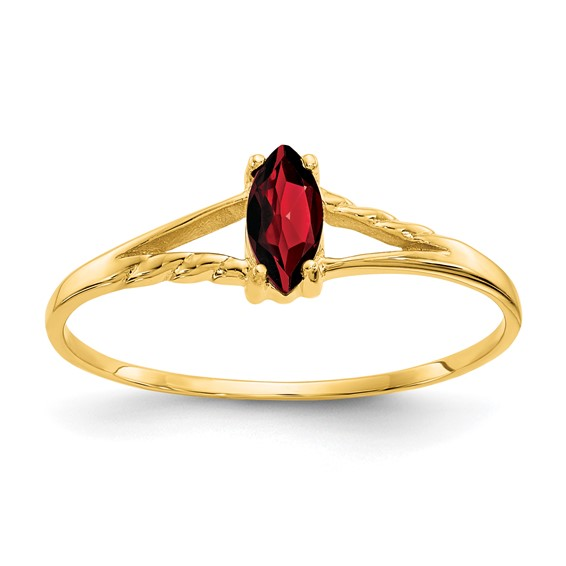 14kt Yellow Gold 1/3 ct Marquise Garnet Ring