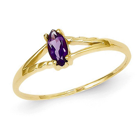 14kt Yellow Gold 1/5 ct Marquise Amethyst Ring