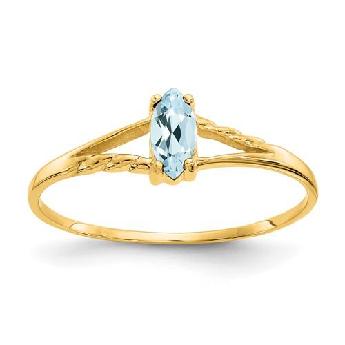 14kt Yellow Gold 1/4 Ct Marquise Aquamarine Ring