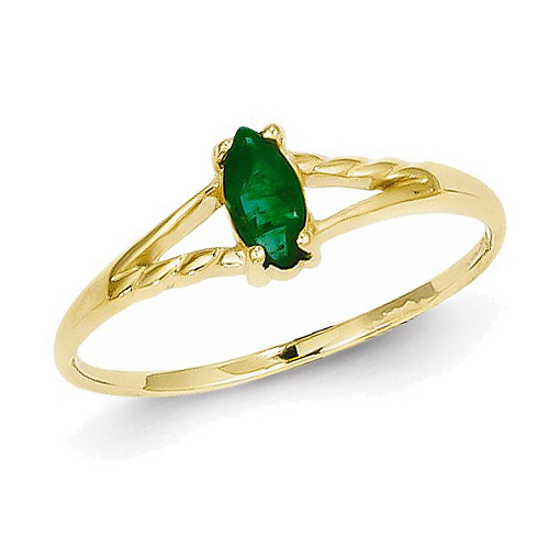 14kt Yellow Gold 1/4 ct Marquise Emerald Ring