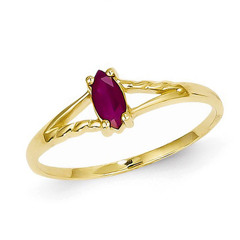 14kt Yellow Gold 1/3 ct Marquise Ruby Ring