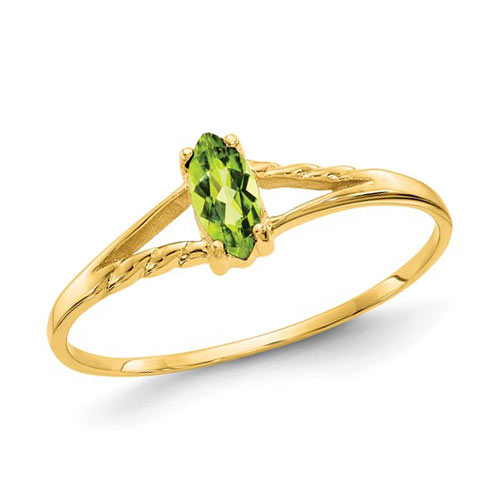 14kt Yellow Gold 1/4 Ct Marquise Peridot Ring