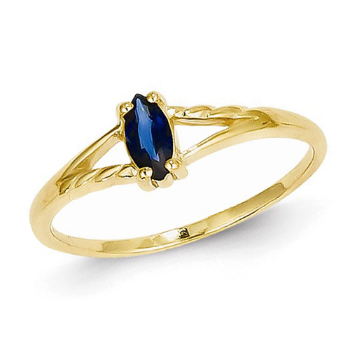 14kt Yellow Gold 1/3 ct Marquise Blue Sapphire Ring