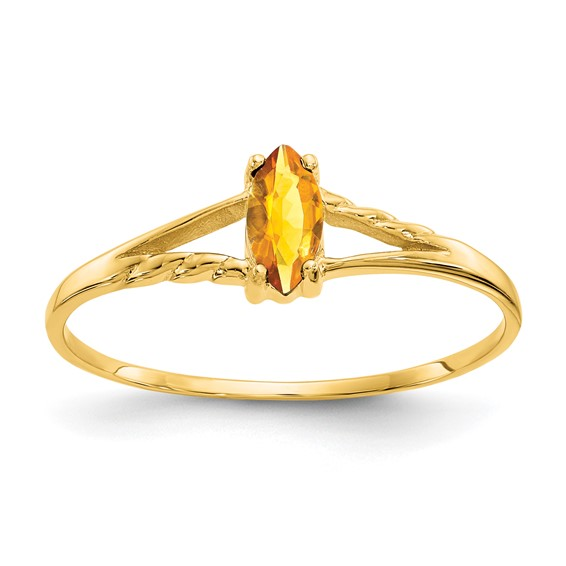 14kt Yellow Gold 1/5 ct Marquise Citrine Ring