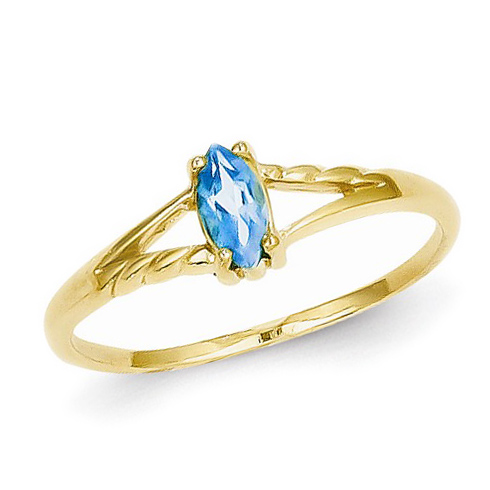14kt Yellow Gold 1/4 ct Marquise Blue Topaz Ring
