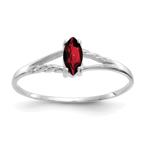 14kt White Gold 1/3 ct Marquise Garnet Ring